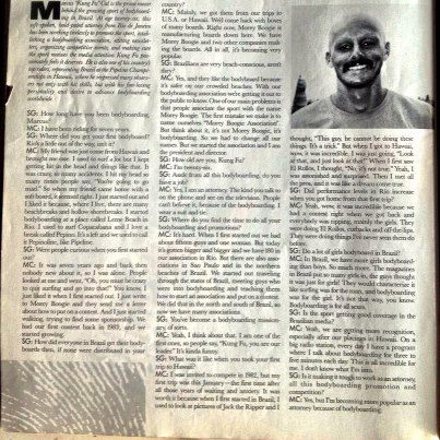 Primeira entrevista para a revista Bodyboarding USA, 1988